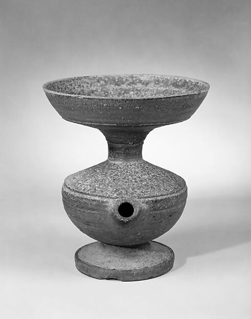 Vessel with Straw Hole, Stoneware with natural ash glaze and incised decoration (Sue ware), Japan