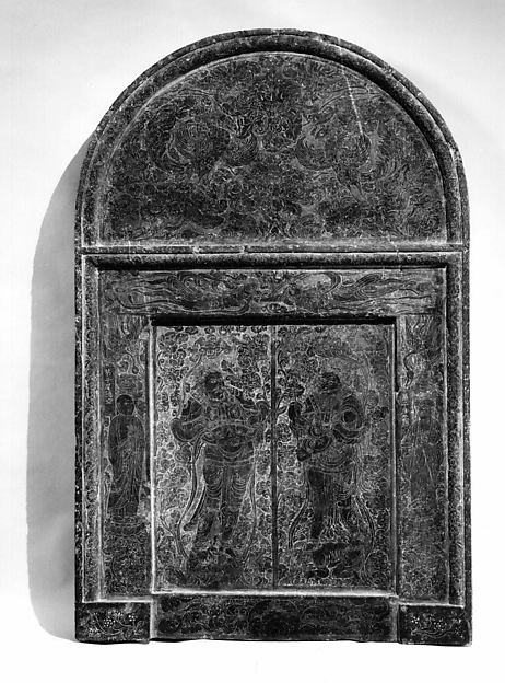 Panel in the Shape of a Sarcophagus Door, Limestone, China