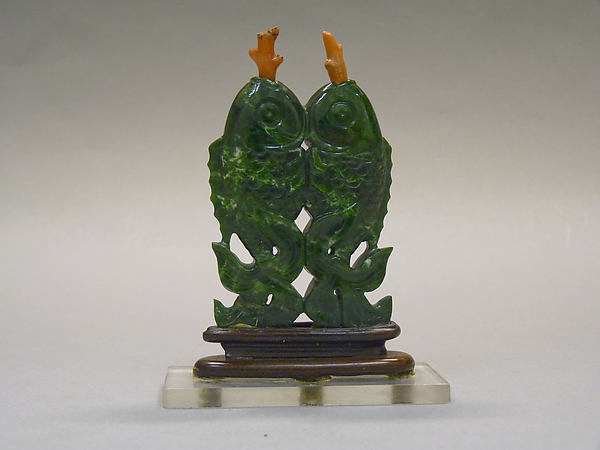 Double Snuff Bottle, Chloromelanite jadeite with coral stoppers; wood stand, China