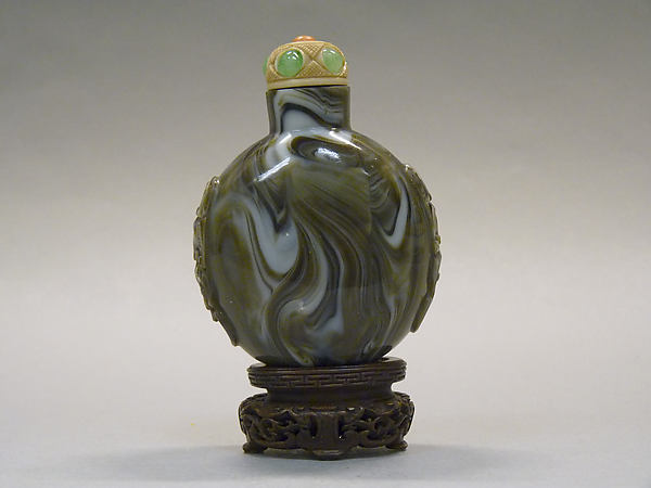 Snuff Bottle, Gray glass with ivory stopper inlaid with stones, China