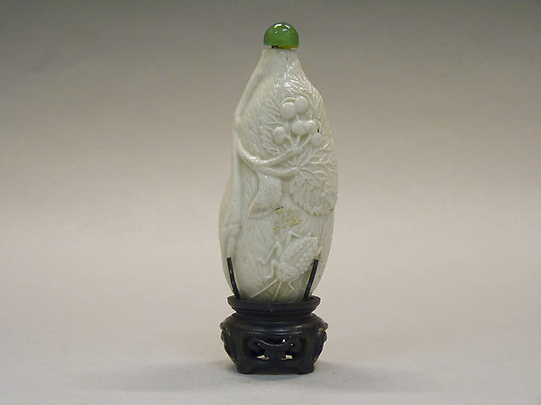 Snuff Bottle, White porcelain with green glass stopper, China