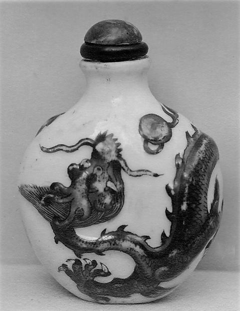Snuff Bottle, Porcelain with stone stopper, China