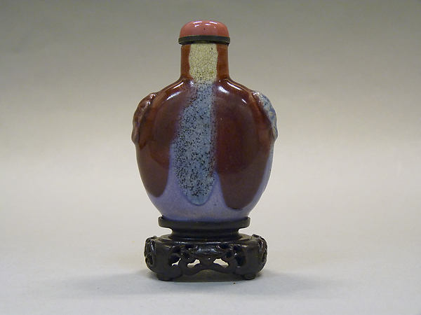 Snuff Bottle, Flambé porcelain with pink glass stopper, China