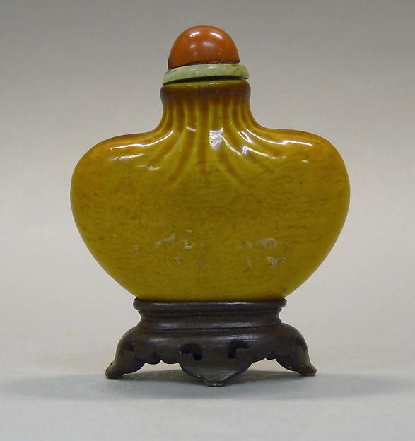 Snuff Bottle, Porcelain with glass stopper, wood stand, China