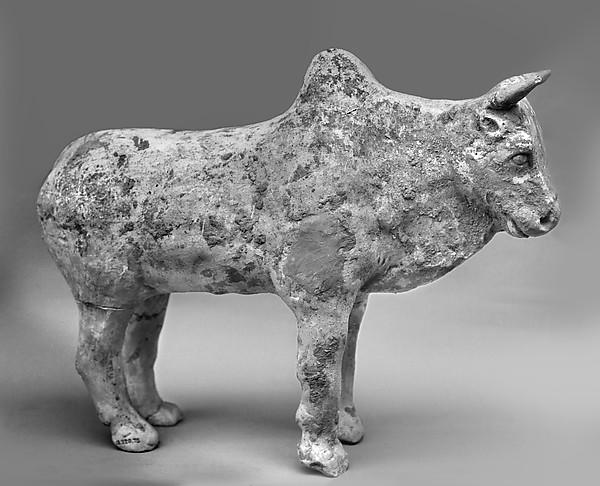 Figure of a Zebu, Whitish earthenware, China