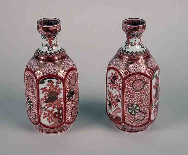 Wine bottle, White porcelain decorated in red enamel and gold (Hizen ware, Kutani type), Japan