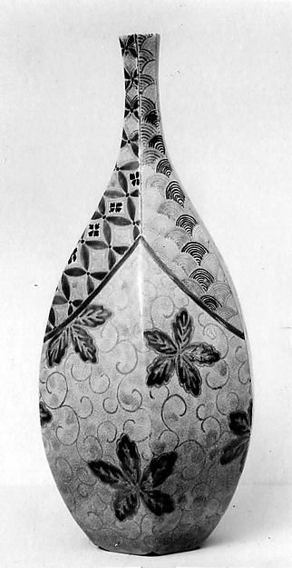 Sake Bottle with Design of Leaves, Vines, and Waves, Stoneware with enamels and gold (Kyoto ware), Japan