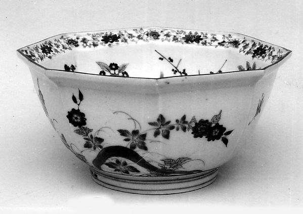 Hexagonal Bowl with Decoration of Flowers of Four Seasons, Porcelain with underglaze cobalt, enamels, and gold (Arita ware, kakiemon type), Japan