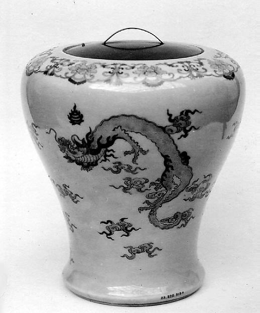 Jar with cover, Porcelain covered with a delicate celadon glaze, decorated in colored enamels (Nabeshima ware), Japan