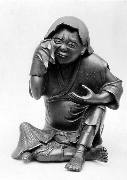 Figure, Stoneware covered with thin glaze; (Bizen ware), Japan