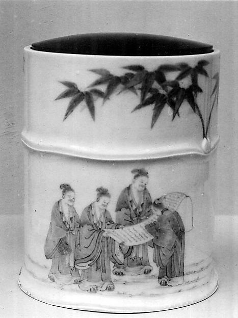Water Jar with Design of the Seven Sages in the Bamboo Grove, Porcelain with underglaze blue decoration; lacquer cover  (Hirado ware), Japan