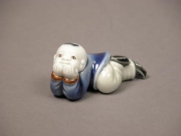 Child Lying Down, Porcelain with underglaze blue and overglaze enamels (Hirado ware), Japan