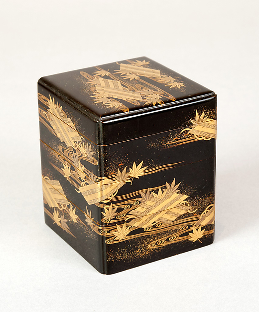 Tiered Box with Design of Maple and Raft, Gold and silver maki-e on black lacquer, Japan