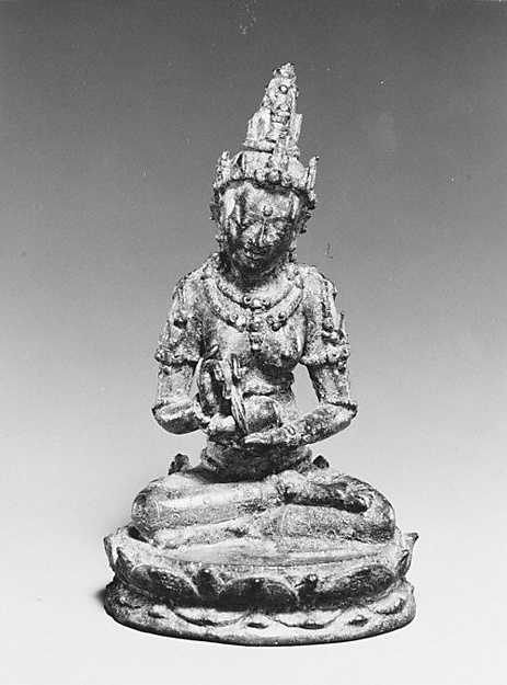 Seated Female Deity Holding a Conch and Branch (?), Bronze, Indonesia (Java, Ngandjuk)