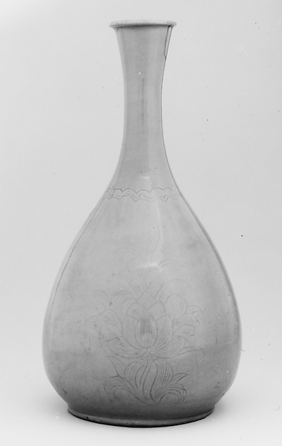 Bottle, Stoneware with incised decoration of lotus flowers under celadon glaze, Korea