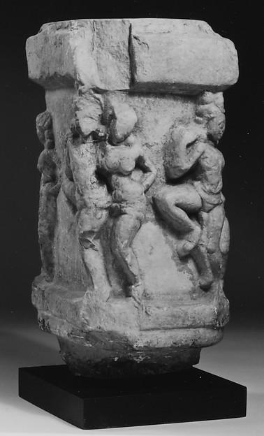 Four-Sided Pillar with Loving Couples (Mithunas), Limestone, India (Andhra Pradesh, Nagarjunakonda)