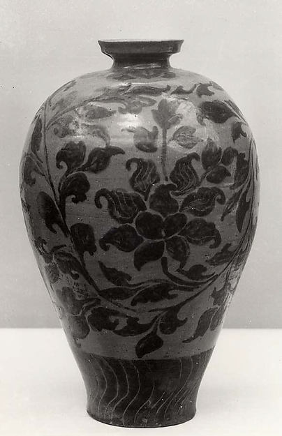 Maebyeong, Stoneware with underglaze iron-brown decoration of peonies and floral scrolls under celadon glaze, Korea