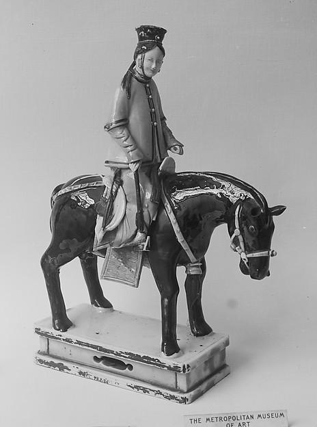Figure of Lady on Horseback, Porcelain with colored glazes, China