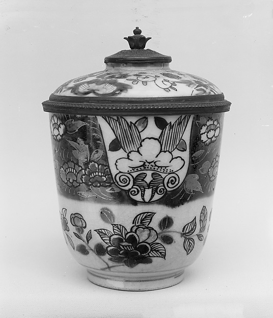 Cup and Silver Mounted Cover, White, crackled porcelain cup decorated with blue under the glaze, iron red and gold; the cover of white porcelain, similarly decorated, Japan