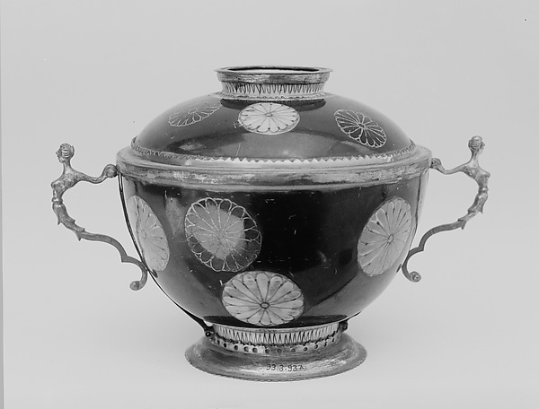Cup and Cover, White porcelain decorated with blue under the glaze, polychrome enamels; mounted in silver gilt (Arita ware, Imari type), Japan