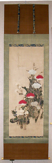Red and White Poppies, School of Tawaraya Sōtatsu (Japanese, died ca. 1640), Hanging scroll; ink and color on paper, Japan