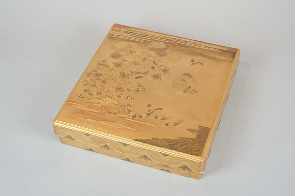Writing Box with Design of the Tatsuta River, Gold and silver maki-e on gold lacquer, Japan