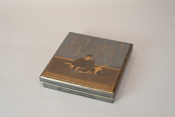 Writing Box with Portrait of Fujiwara no Ietaka and His Poem about the Tatsuta River, Lacquered wood with gold and silver hiramaki-e, togidashimaki-e, and red lacquer on silver ground, Japan