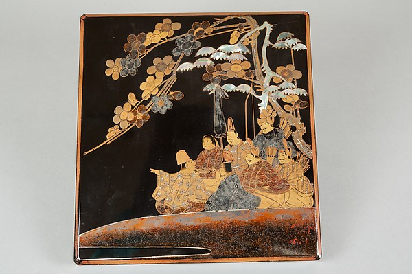 Writing Box with Design of Six Poets under a Cherry Tree and a Pine, Gold and silver maki-e, colored lacquer, and mother-of-pearl inlay on black lacquer, Japan