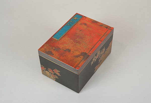 Incense Box with Design of Camellia, Autumn Grasses, and Tree, Gold and silver maki-e on red lacquer, Japan