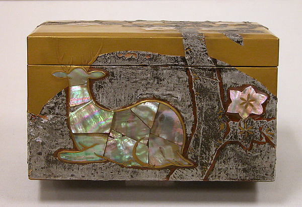 Box with Design of Maple Tree and Deer, Style of Ogata Kōrin (Japanese, 1658–1716), Gold inlaid with mother-of-pearl and tin, Japan