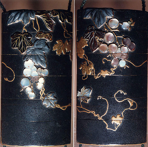 Case (Inrō) with Design of Grapevine, Case: gold and colored lacquer on black lacquer with mother-of-pearl and pewter inlays; Fastener (ojime): silver vase (signed: Tenni); Toggle: (netsuke): gold with design of cricket and dragonfly with autumn grasses, Japan