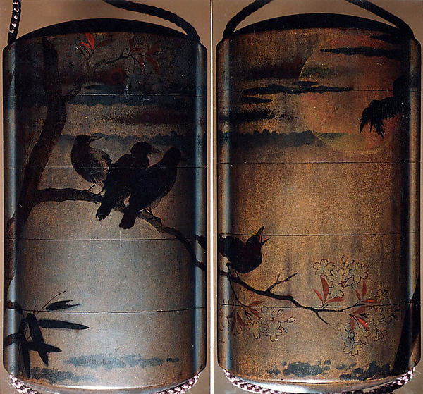 Inrō with Crows on Cherry Tree in Moonlight, Gold and silver lacquer ground with black and red togidashi maki-eNetsuke: fox-dancer; carved and lacquered wood, ivoryOjime: butterflies; cloisonné bead, Japan