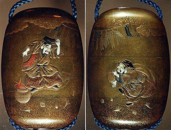Case (Inrō) with Design of Ebisu and Daikoku Dancing beneath New Year's Decorations, Nikkōsai, Gold lacquer with gold and colored hiramkie sprinkled and polished lacquer and ivory inlay; Netsuke: polished wood button; Ojime: red lacquer bead; Interior: nashiji and fundame, Japan