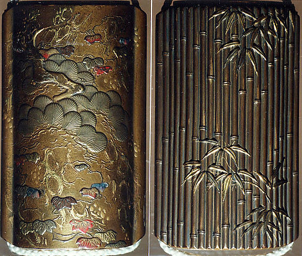 Saya Inrō with Pine and Ivy (obverse) and Bamboo Grove (reverse), Sheath shape; lacquered wood with gold and silver takamaki-e, hiramaki-e, togidashimaki-e, and colored ivory inlay on gold lacquer ground Netsuke: kagamibuta type, lotus pad with frog; stained ivory and metal Ojime: agate bead, Japan