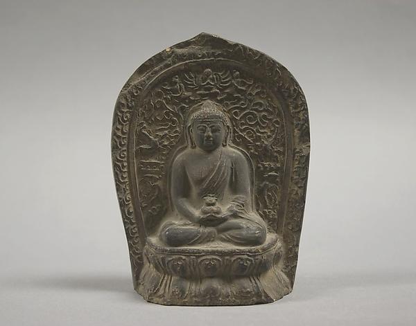 Seated Buddha, Unglazed pottery, Tibet