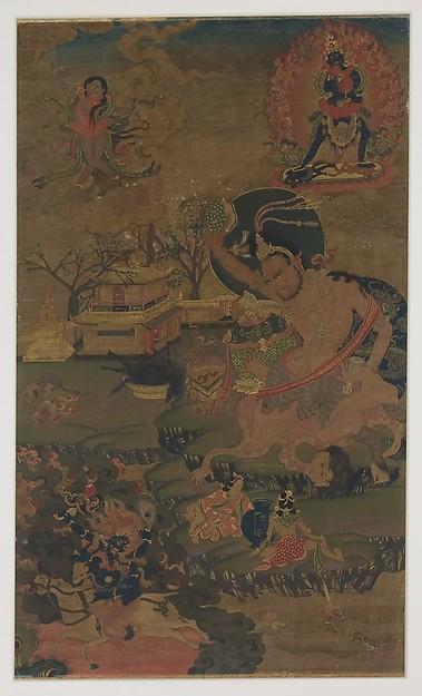 Mahasiddha Damarupa, Distemper on cloth, Tibet