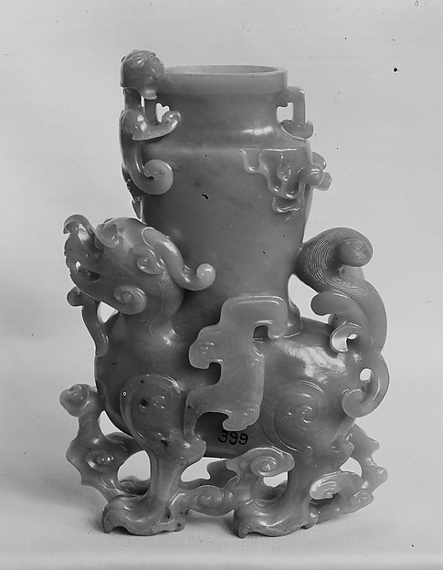 Fantastic creature supporting a vase, Jade (nephrite), China