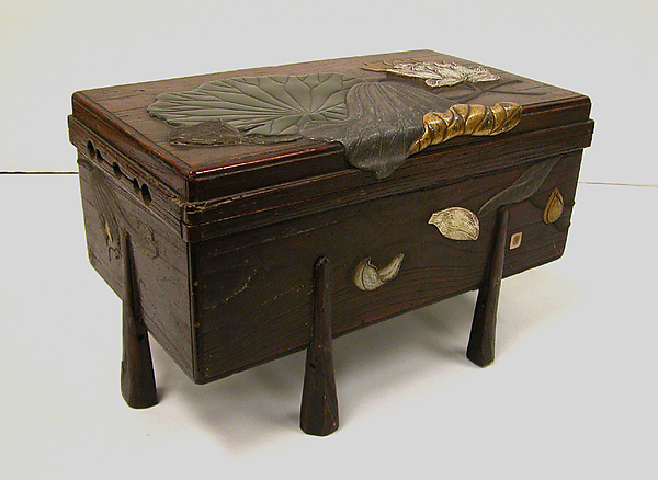 Sutra chest, Mochizuki Hanzan (Japanese, 1743–?1790), Colored lacquer, gold, and ceramic on natural wood, Japan