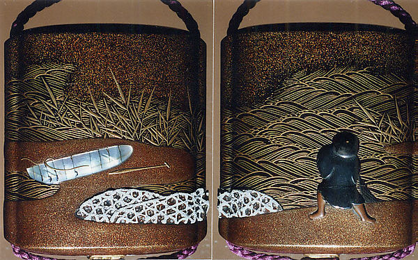 Case (Inrō) with Design of Fisherman, Boat, Reeds, and Stone Basket Breakwaters, Tsuchiya Yasuchika (Japanese), Gold maki-e with pewter, mother-of-pearl, and metal inlay; Ojime: cloisonné bead; Netsuke: carved wood creel with lacquer puffer fish, Japan