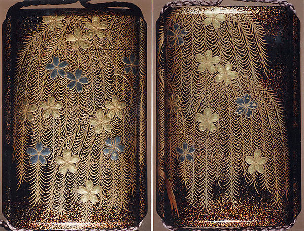 Case (Inrō) with Design of Weeping Willow and Cherry Blossoms, Nakayama Komin (Japanese, 1808–1870), Hiramaki-e with nashiji on black lacquer, roiro, nashiji, gold and silver hiramakie, gold and silver foil; Interior: nashiji and fundame; Ojime: ivory bead with vines and grasses in gold lacquer; Netsuke: woven basket with shell and gold lacquer), Japan
