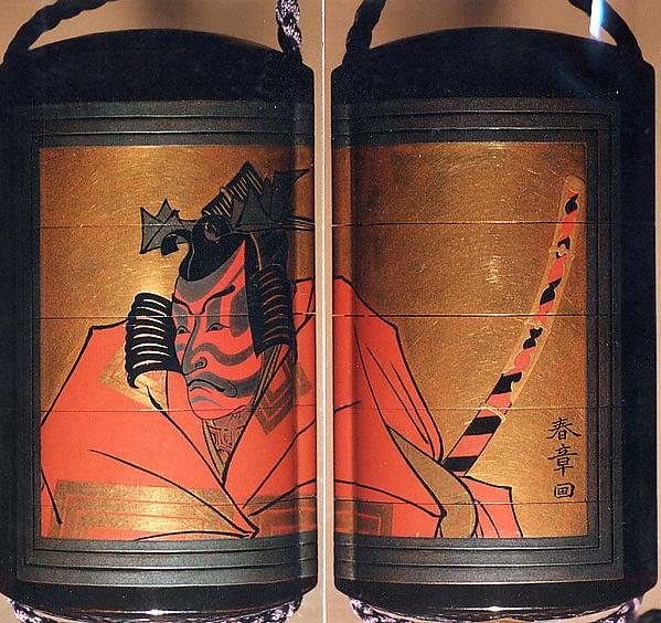 Inrō with Kabuki Actor Ichikawa Danjūrō V, Design by Katsukawa Shunshō (Japanese, 1726–1792), Five cases; lacquered wood with gold, silver, black, and red togidashimaki-e on black lacquer groundNetsuke: ivory; Nō maskOjime: lacquer bead, Japan