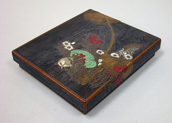 Writing Box with Design of Wild Pink, Butterbar, and Bird, In the Style of Ogawa Haritsu (Ritsuō) (Japanese, 1663–1747), Colored lacquer, gold maki-e, and inlaid pewter, Japan