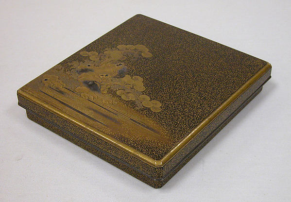 Writing Box, Black lacquer with sprinkled gold and silver (maki-e) on wood, Japan