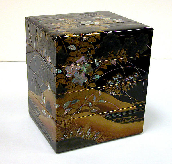 Tiered Box with Design of Bellflower and Autumn Grasses, Black lacquer with powdered gold and silver (maki-e) and mother-of-pearl and pewter inlays, Japan