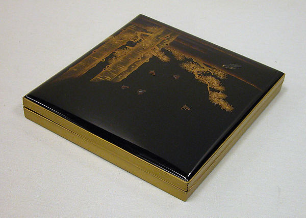Writing box (Suzuribako) with Pines, Hawk, and Sparrows, Lid: black lacquer ground with gold and silver togidashi maki-e and metal inlayInterior: nashiji ground with gold and silver hiramaki-e , Japan