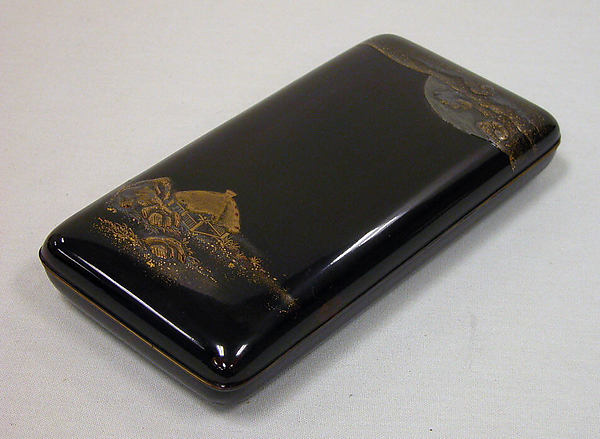 Writing Box with Design of Rustic Shelter and Clouds with Moon (cover), the Poet Saigyō Resting (inside), Gold and silver maki-e on black lacquer, Japan