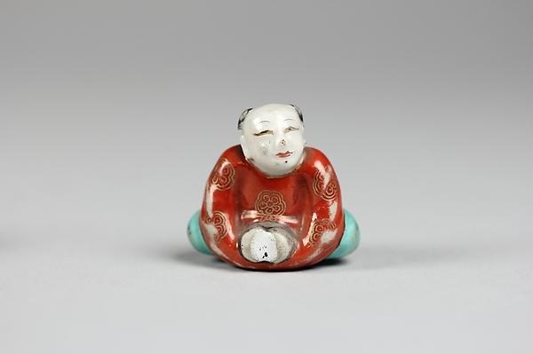 Netsuke of Boy, Porcelain painted in enamel colors, Japan
