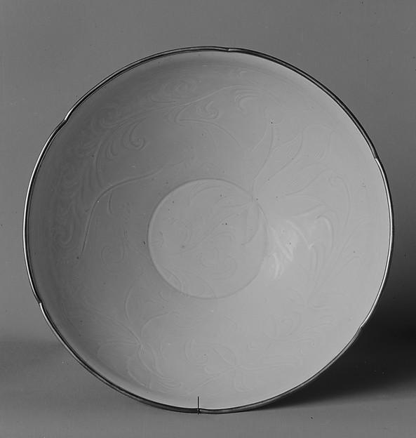 Bowl, Porcelain with incised design under ivory white glaze (Ding ware), China