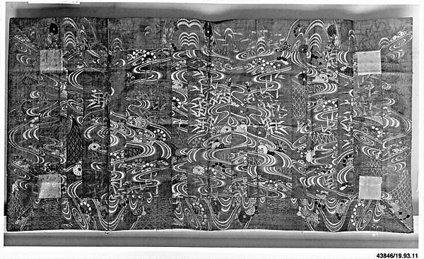 Buddhist Vestment (Kesa) with Pattern of Flowing Water, Chrysanthemums, Fishing Nets, and Waterwheels, Twill-weave silk brocaded with silk (karaori), Japan