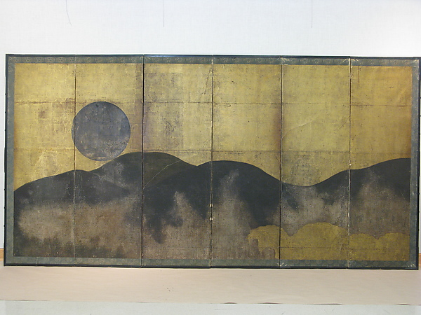 Mount Yoshino, Unidentified Artist, Six-panel folding screen; ink, color, and gold on paper, Japan